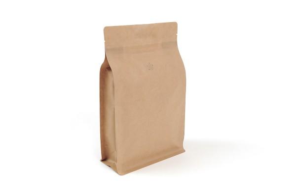 Doybags / Standbodenbeutel aus Kraftpapier mit Seitenfalte wahlweise mit Aromaventil und Blockboden Lebensmittel geeignet. Wiederverschlissbarer ZIP-Verschluss. Schweißbar