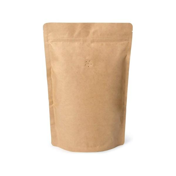 Doybags / Standbodenbeutel aus Kraftpapier mit Ventil (Aromaventil) für Kaffee. Lebensmittel geeignet. Wiederverschlissbarer ZIP-Verschluss. Schweißbar