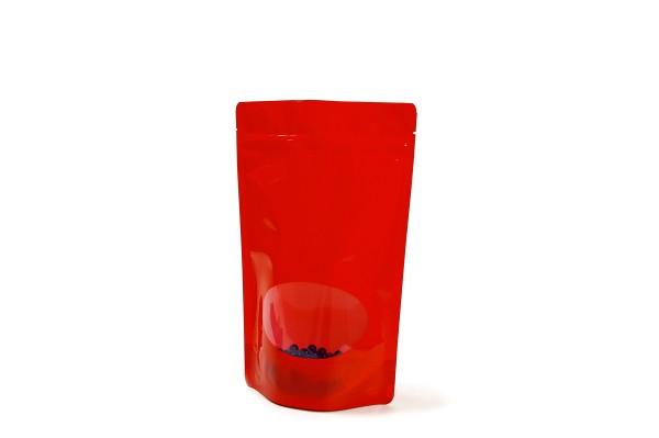 Rote Doybags / Standbodenbeutel aus hochglänzender Folie mit Sichtfenster. Lebensmittel geeignet. Wiederverschlissbarer ZIP-Verschluss. Schweißbar