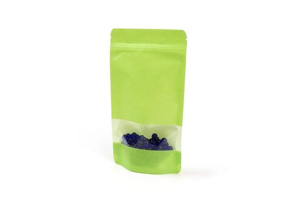 Grüne Doybags / Standbodenbeutel aus Reispapier mit Sichtfenster. Lebensmittel geeignet. Wiederverschlissbarer ZIP-Verschluss. Schweißbar