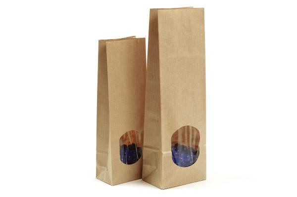 Blockbodenbeutel aus Kraftpapier mit Sichtfenster oder ohne Sichtfenster in unserem Shop günstig kaufen. Sofort lieferbar