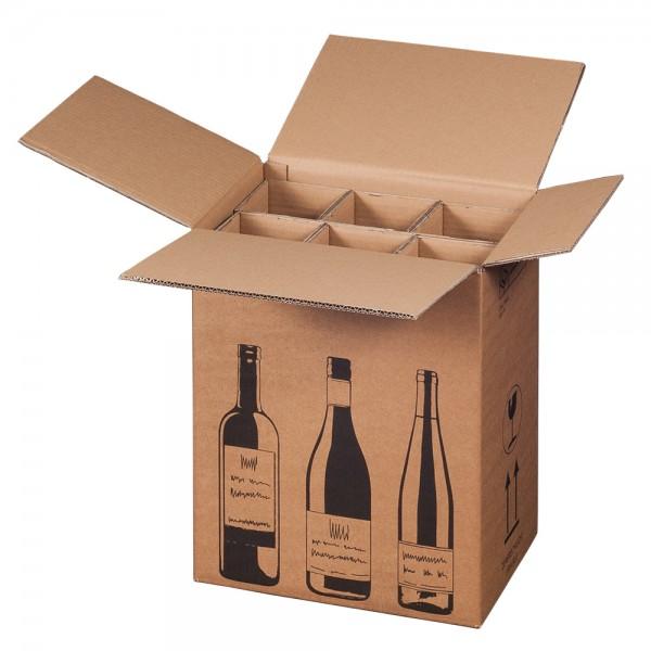 Versandkarton für 6 Flaschen. Flaschenkartons DHL und UPS zertifiziert