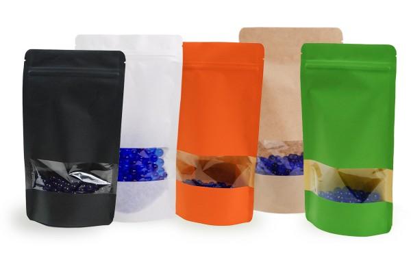 Doybags / Standbodenbeutel aus Kraftpapier mit oder ohne Sichtfenster. Lebensmittel geeignet. Wiederverschlissbarer ZIP-Verschluss. Schweißbar